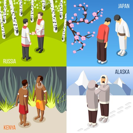 People from different countries greeting each other 2x2 isometric concept 3d isolated vector illustration