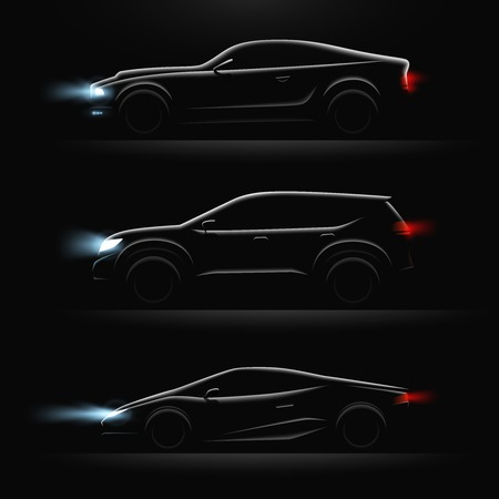 Three realistic car profile dark icon set black cars with lighted headlights vector illustration