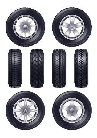 Set of realistic car wheels with various design of rim profile and front view isolated vector illustration