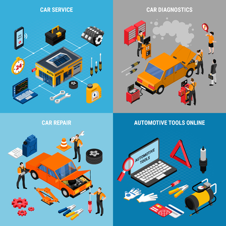 Car service and maintenance concept icons set with repair symbols isometric isolated vector illustration Stockfoto - 128160249