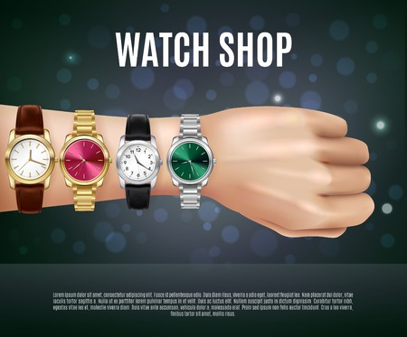 Jewelry realistic composition with watch shop headline men s hand and four different watches vector illustration