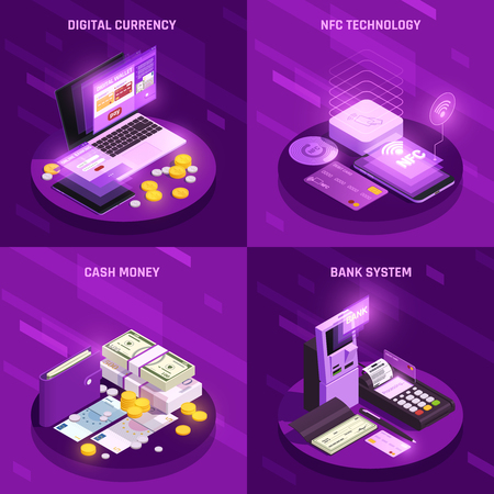 Payment methods isometric design concept with digital currency cash money bank system nfc technology isolated vector illustration Illustration