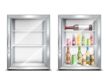 Refrigerator fridge realistic set with two isolated images of small refrigerated mini bar with glossy door vector illustration