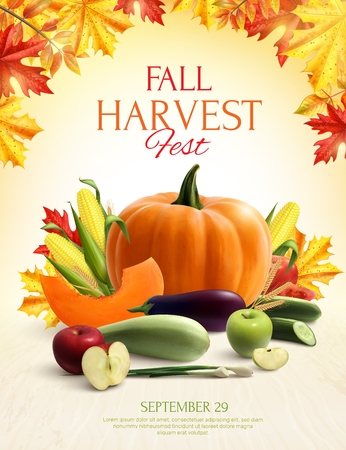 Fall harvest colorful composition with set of vegetable and fruits and autumn leaves realistic vector illustration