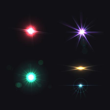 Lentille effets lumineux réalistes ensemble coloré isolé illustration vectorielle