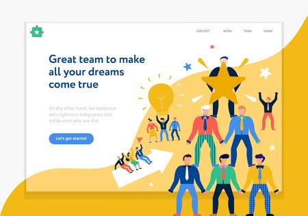 Diseño de página de trabajo en equipo con nuevas ideas y símbolos de sueños ilustración vectorial plana