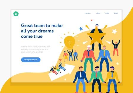 Teamwork-Seitenentwurf mit flacher Vektorillustration der neuen Ideen und der Träumersymbole