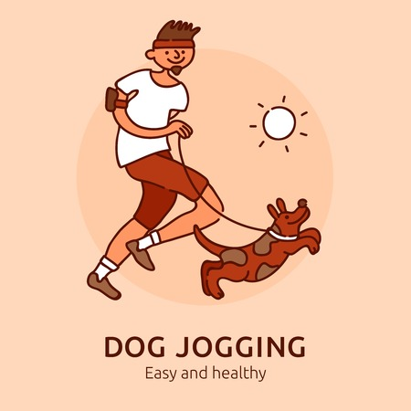 Pet jogging easy and healthy poster for dogs owners flat vector illustration Ilustração