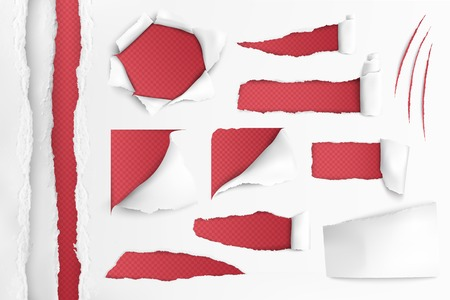 Set of holes in white paper with ripped edges over red background realistic vector illustration Ilustrace