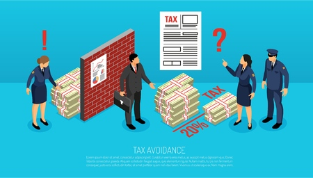 Tax evasion horizontal isometric composition with inspectors finding illegally intentionally avoided contributions by business manager vector illustration Illustration