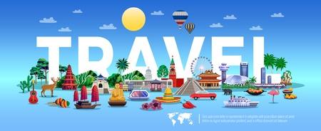 Affiche de voyage et de tourisme avec illustration vectorielle plane de symboles de villégiature et de tourisme