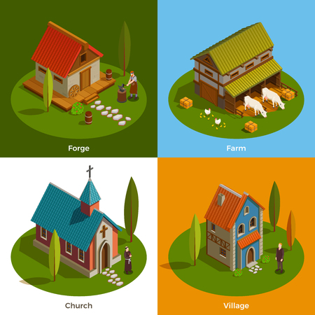 Medieval settlement architecture 4 flat isometric compositions with farm church forge buildings village house isolated vector illustration
