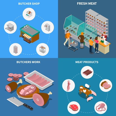 Butchery sausage shop isometric 2x2 design concept with isolated pictograms and icons with meat products vector illustration