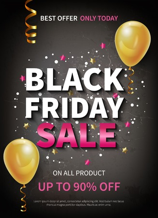 Realistic black friday sale poster decorated with balloons and confetti vector illustration