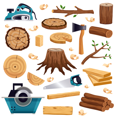 Wood industry material tools and production  flat set with tree trunk logs planks saw axe vector illustration Illustration