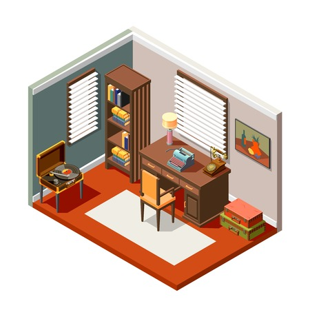 Room with interior objects from flea market isometric composition on white background 3d vector illustration