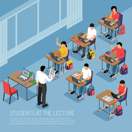 Higher education students taking notes at tutorial lecture participating in seminar seminar classes isometric composition vector illustration Illustration