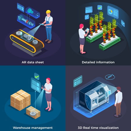 Industrial augmented reality concept 4 applications with 3d real time process  visualization technology isometric set vector illustration