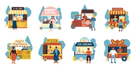 Street food icons set with sellers and buyers symbols flat isolated vector illustration Illustration