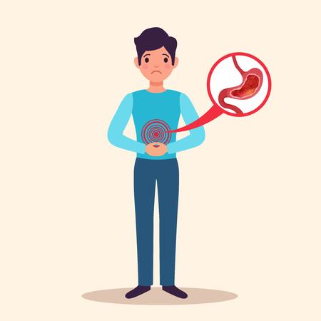 Carattere piatto paziente maschio giovane gastrite cronica con infiammazione acuta mostrata di illustrazione vettoriale di rivestimento dello stomaco gonfio Vettoriali