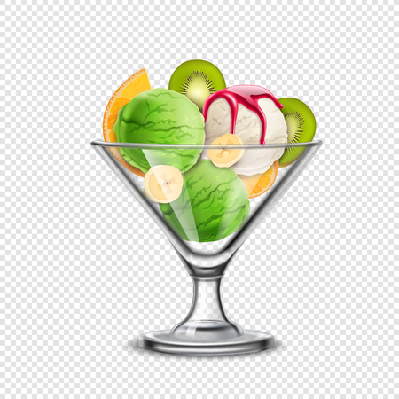 Ice cream in glass bowl transparent realistic composition with orange banana and kiwi slices with scoops vector illustration