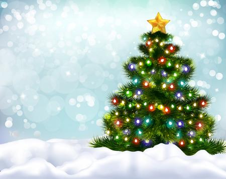 Realistischer Hintergrund mit schöner verzierter Weihnachtsbaum- und Schneebänkevektorillustration