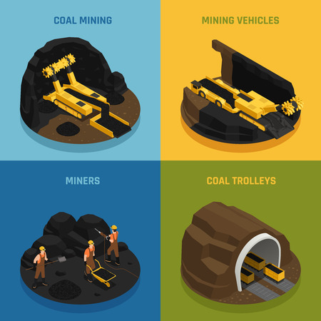 Miners during work vehicles and equipment for coal mining isometric design concept isolated vector illustration Illustration