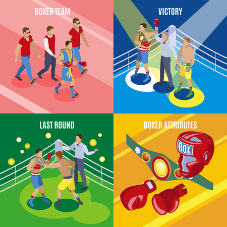 Box isometric 2x2 design concept with colourful images of sport equipment and human characters in uniform vector illustration