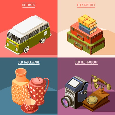 Colorful isometric flea market 2x2 design concept with old tableware car telephone camera suitcases books 3d isolated vector illustration Illustration