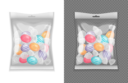 Realistische transparante lollypop snoep pakket set geïsoleerde vectorillustratie