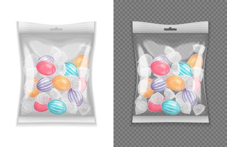 Realistyczny przezroczysty pakiet cukierków lollypop zestaw ilustracji wektorowych na białym tle