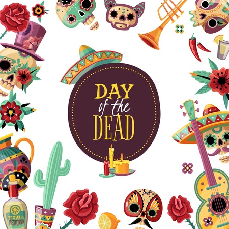 Dead day square frame poster with event symbols decorative border guitar scull in sombrero cactus vector illustration Ilustracja