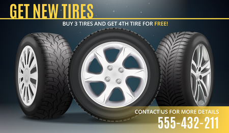 Get new tires advertising realistic poster with winning offer and contact information vector illustration