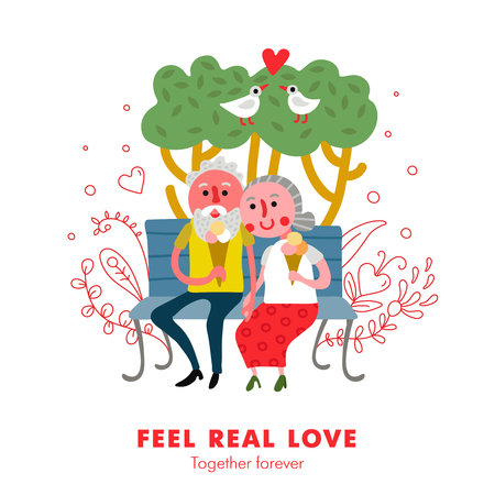 Elderly people healthy loving relations funny cartoon poster with couple outdoor together eating ice cream vector illustration  イラスト・ベクター素材