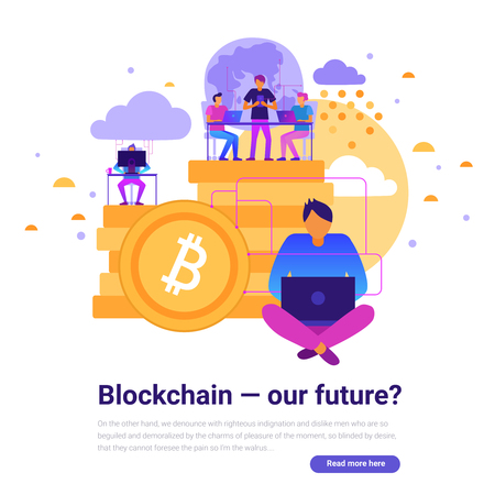 Modern technologies design with blockchain and future symbols flat vector illustration