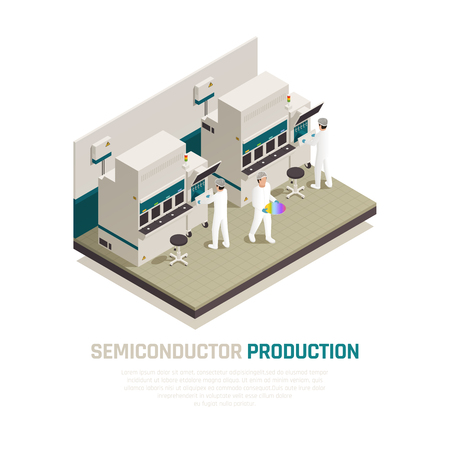Semiconductor chip production isometric composition background with electronic silicon chip factory machinery facilities and human workers vector illustration