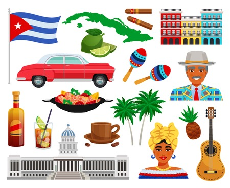 Cuba travel set with sights and landmarks symbols flat isolated vector illustration Illustration