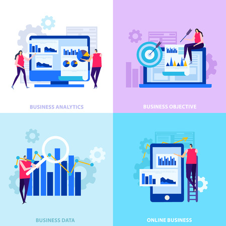 Business analytics commercial objectives online information and data processing flat design concept isolated vector illustration