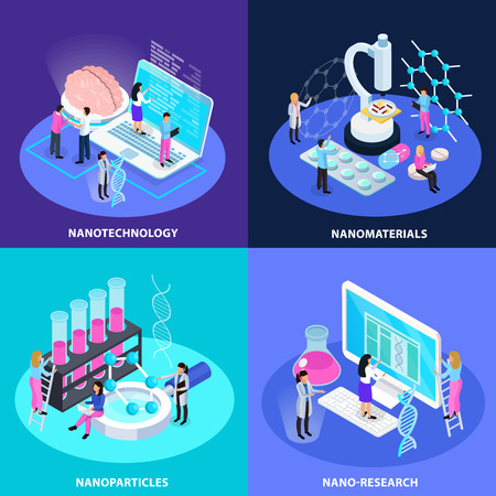 Nano technology isometric design concept with research for creation of innovative particles and materials isolated vector illustration
