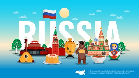 Russia travel flat horizontal composition with pancakes caviar bear borscht beet soup kremlin birch tree vector illustration 일러스트