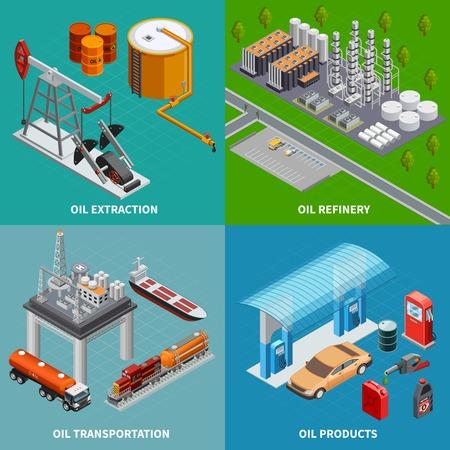 Refinería y transporte de equipos de extracción de la industria petrolera 2x2 colorido concepto isométrico 3d aislado ilustración vectorial Ilustración de vector