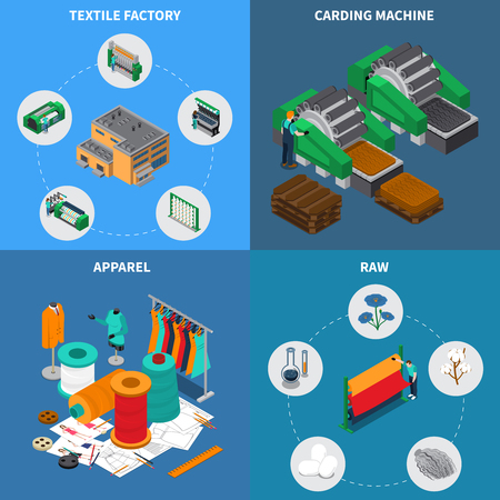 Textile industry isometric design concept with conceptual icons and pictograms with sewing spools and stitching needles vector illustration