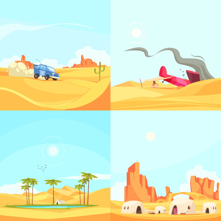 Desert design concept with deserted region landscapes with rally cars oasis fallen aircraft and dwelling houses vector illustration