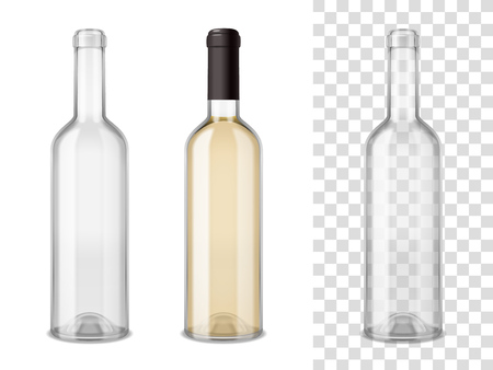 Empty and sealed by cap filled wine glass bottles realistic set on white and transparent mixture backgrounds vector illustration
