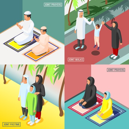 Praying and walking arabic families with their children 2x2 isometric design concept 3d isolated vector illustration
