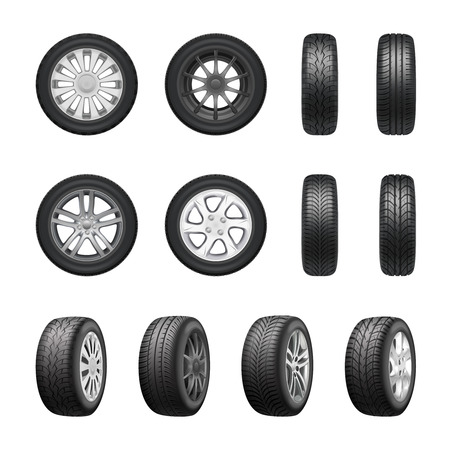 Tires wheels shown from different sides realistic set isolated on white background vector illustration 向量圖像