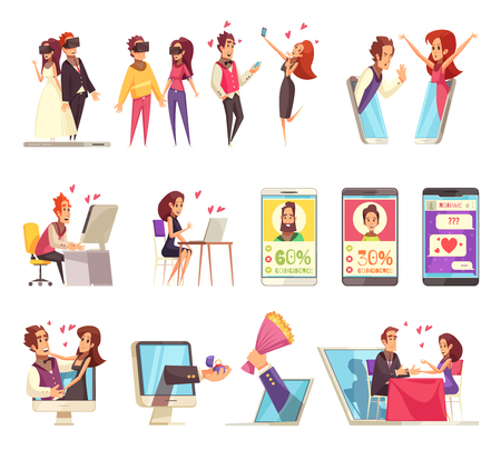Virtual and real love set with isolated icons of gadgets and dating apps with human characters vector illustration