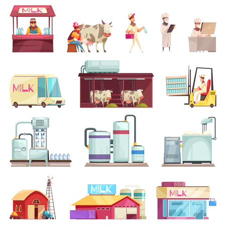 Milk production collection with isolated icons and flat images of factory facilities milk stores and people vector illustration