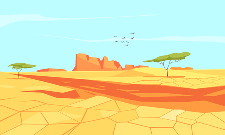 Desert composition with flat landscape of deserted place landscape with chapped sandy grounds and canyons vector illustration Ilustração
