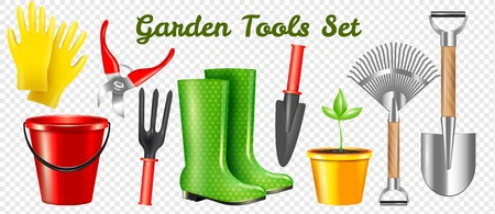Set of realistic garden protective and working tools with sprout isolated on transparent background vector illustration Illustration